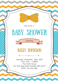 Mustache baby shower party invitation A6 template