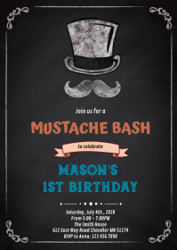 Mustache bash birthday invitation A6 template