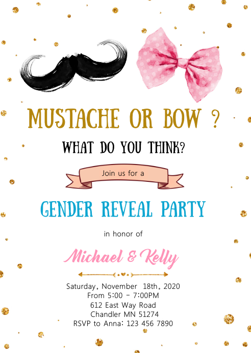 Mustache or bow gender reveal invitation A6 template