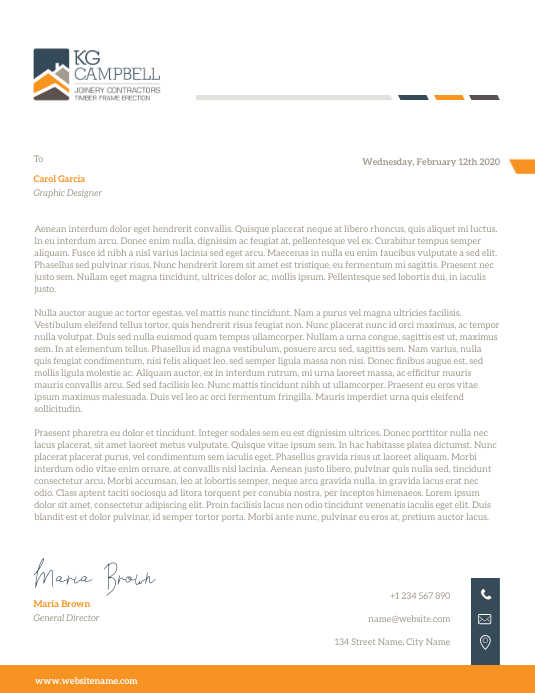 Mustard and Grey Corporate Letterhead
