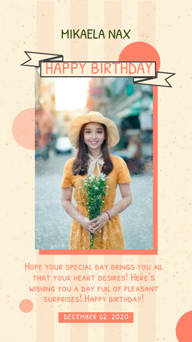 Mustard Modern Birthday Wish Instagram Story template