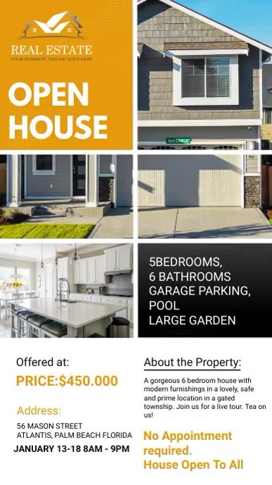 Mustard Real Estate Agency Open House Ad Digitale display (9:16) template