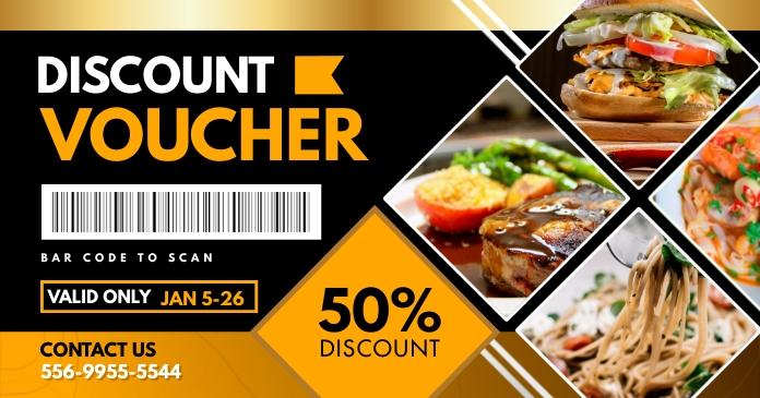 Mustard Restaurant Gift Voucher Facebook 共享图片 template