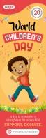 Mustard World Children's Day Banner Bannier 2' × 6' template