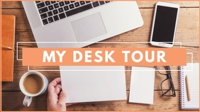 my desk tour youtube video thumbnail design t template