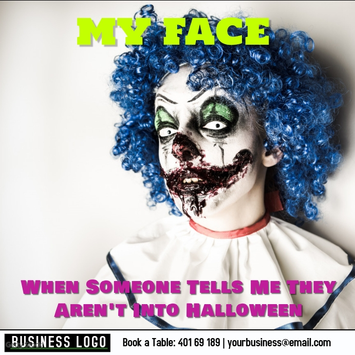 My Face When... not into Halloween Instagram-opslag template