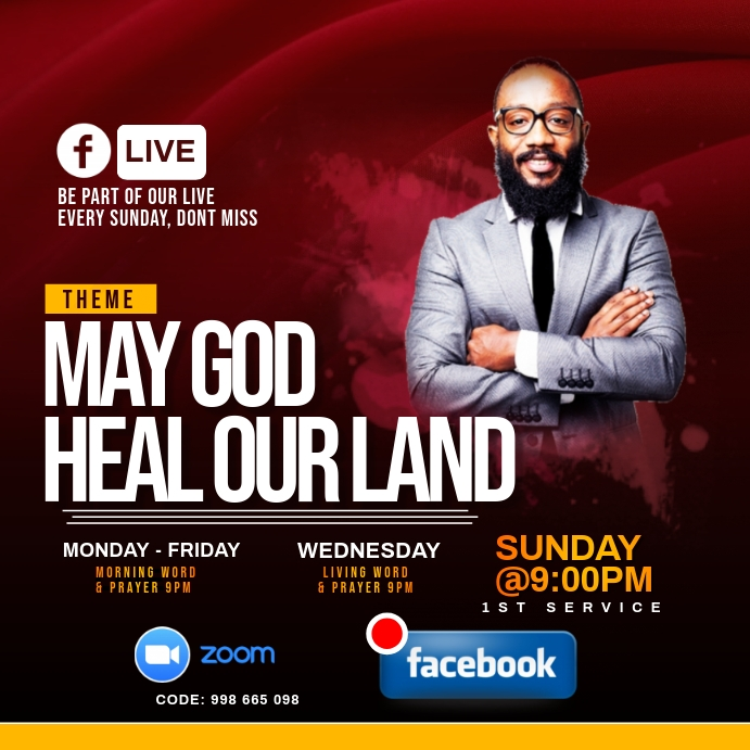 MY GOD HEAL OUR LAND FLYER Instagram 帖子 template