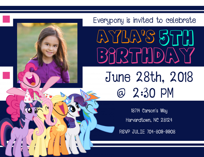 My Little Pony Birthday Invitation Customize Template