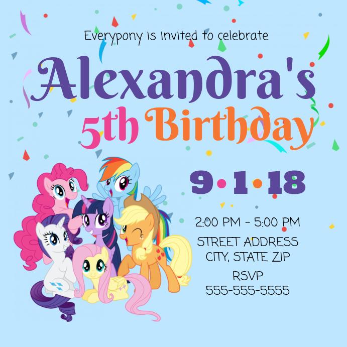 Plantilla De Mi Pequeño Invitación De Cumpleaños Pony