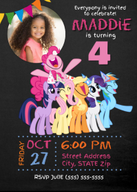 My Little Pony Birthday Invitation A6 template