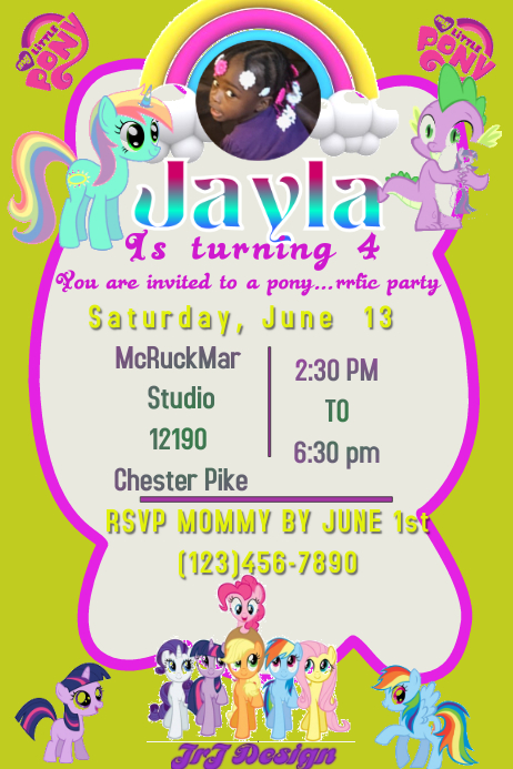 My Little Pony Birthday Party Customize Template