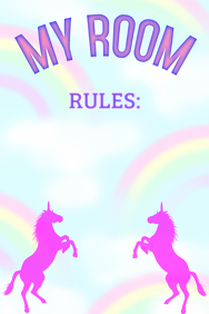 My room sign, Pink Unicorns Rainbow light background