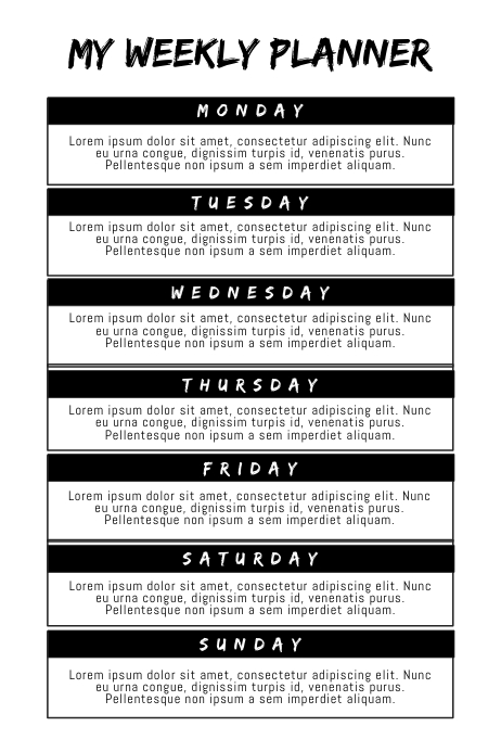 My Weekly Event Planner Template