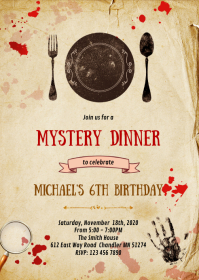 Mystery dinner birthday party invitation A6 template