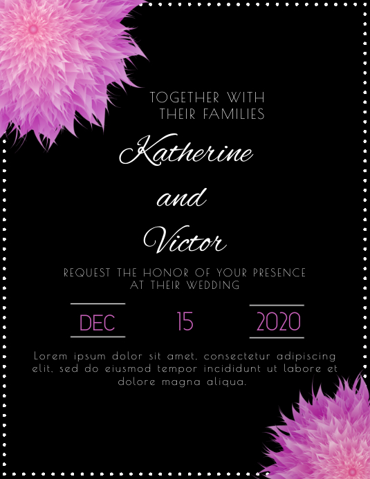 Mystical floral wedding invitation template