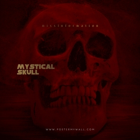 Mystical Skull Red Mixtape CD Cover Template