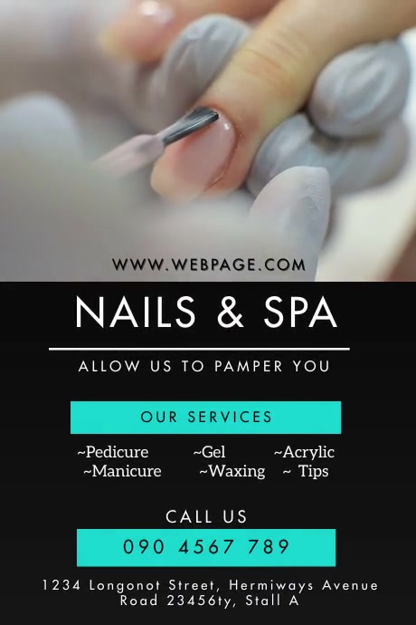 NAILS AND SPA SALOON FLYER Cartaz template