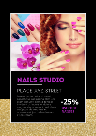 Nails Beauty Studio Flyer Poster Template Ad A4
