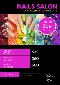 Nails Salon Manicure Offer Special Flyer Ad A4 template