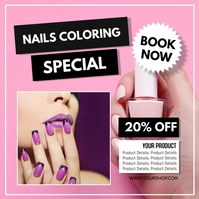 Nails salon Special Promotion ad manicure Square (1:1) template