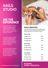 Nails salon studio beauty price list ad A4 template