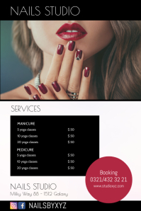 Nails Studio Poster Flyer Services Ad Beauty Cartaz template