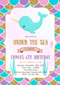 Narwhale birthday party invitation