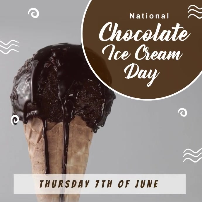 National Chocolate Ice Cream Day Post Templat Instagram-opslag template