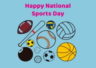 National sports day Postcard template