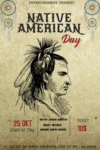 Native american day event flyer template