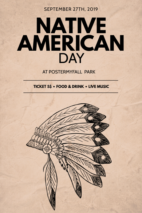 Native American Day Flyer Design Template Poster