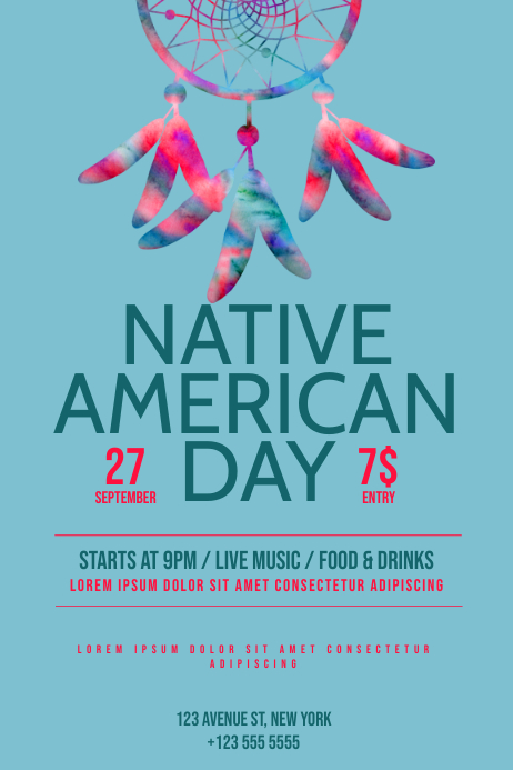 Native American Day Flyer Template