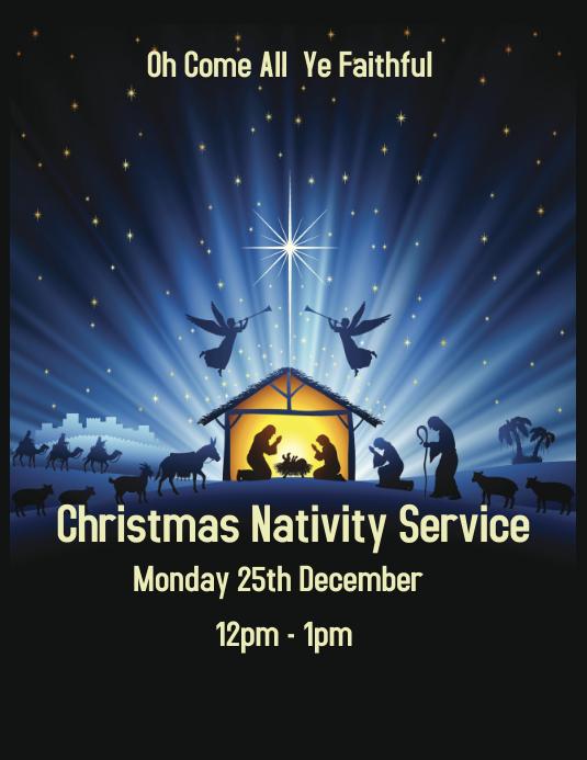 Nativity Service Flyer Løbeseddel (US Letter) template