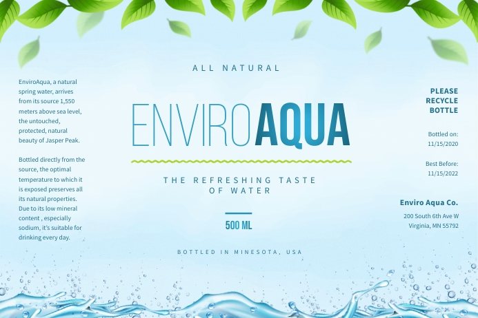 Natural Water Bottle Label Rótulo template
