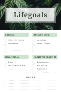 Nature Lifetime goals Checklist Poster template