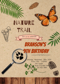 Nature trail birthday party invitation A6 template