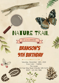 Nature trail birthday party invitation