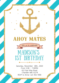 Nautical anchor birthday invitation