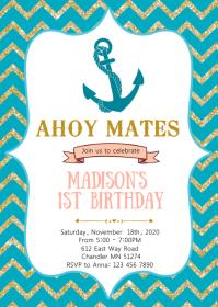 Nautical anchor birthday party invitation