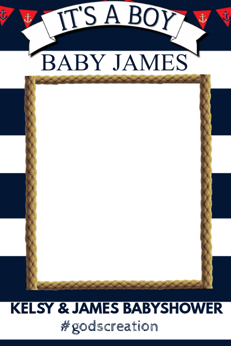 nautical baby shower party prop frame template