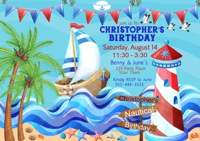Nautical Birthday Party Postkarte template