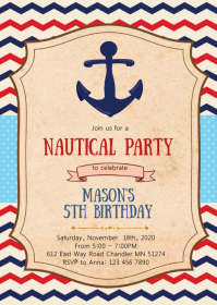 Nautical birthday party invitation