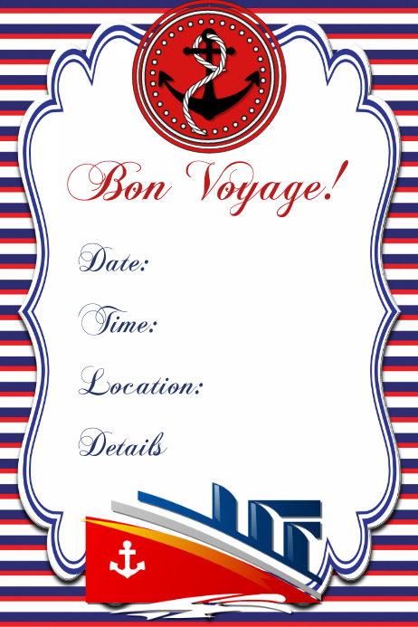 nautical invitation poster template flyer party 4th of july
