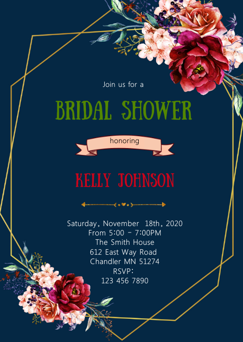 Navy and burgundy bridal shower invitation A6 template