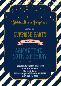 Navy and gold theme party invitation