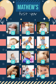 Navy blue 1st year of life poster template