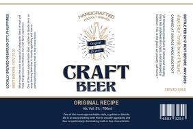 Navy Blue and White Beer Label template