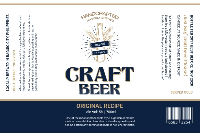 Navy Blue and White Beer Label Etiket template