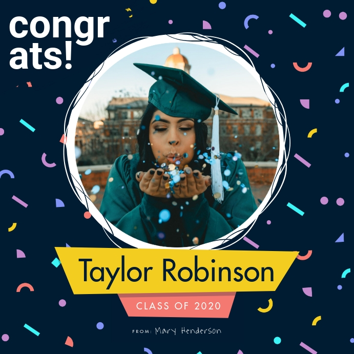 Navy Blue Congratulatory Card for Graduate