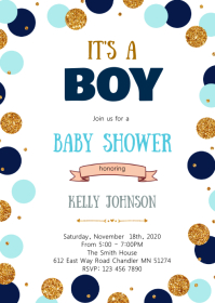 Navy blue gold confetti shower invitation